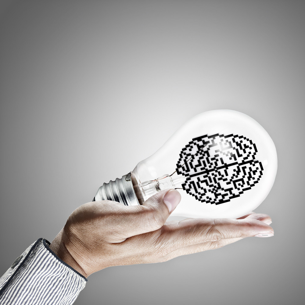 Icon Brain In Light Bulb As Concept