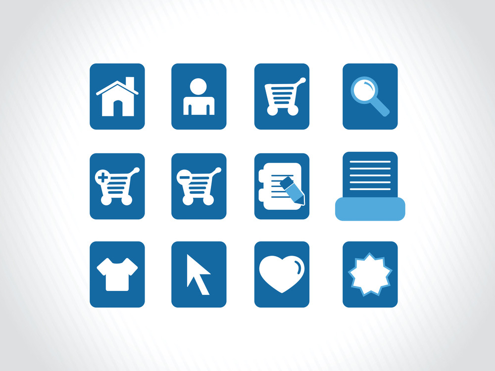 Icons On Blue Background Vector