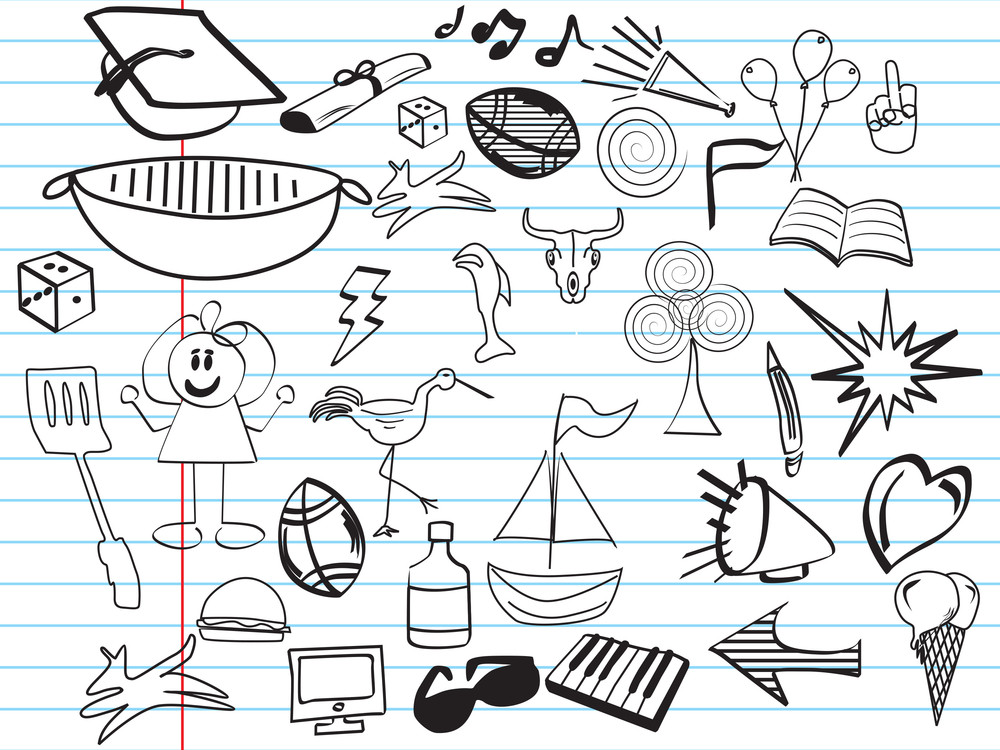 Icons On Paper Background