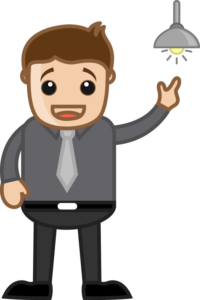 Idea Bulb Concept Cartoon Business Character Man