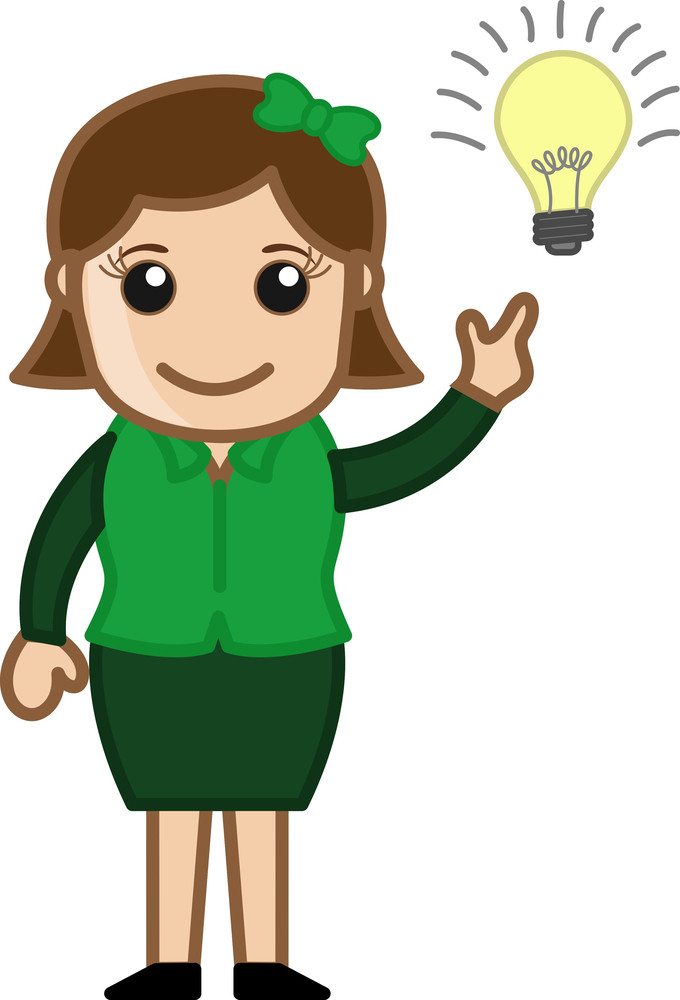 Idea Bulb - Girl - Cartoon Bussiness Vector Illustrations