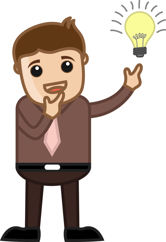 Idea Bulb Lit - Business Cartoon Character Vector