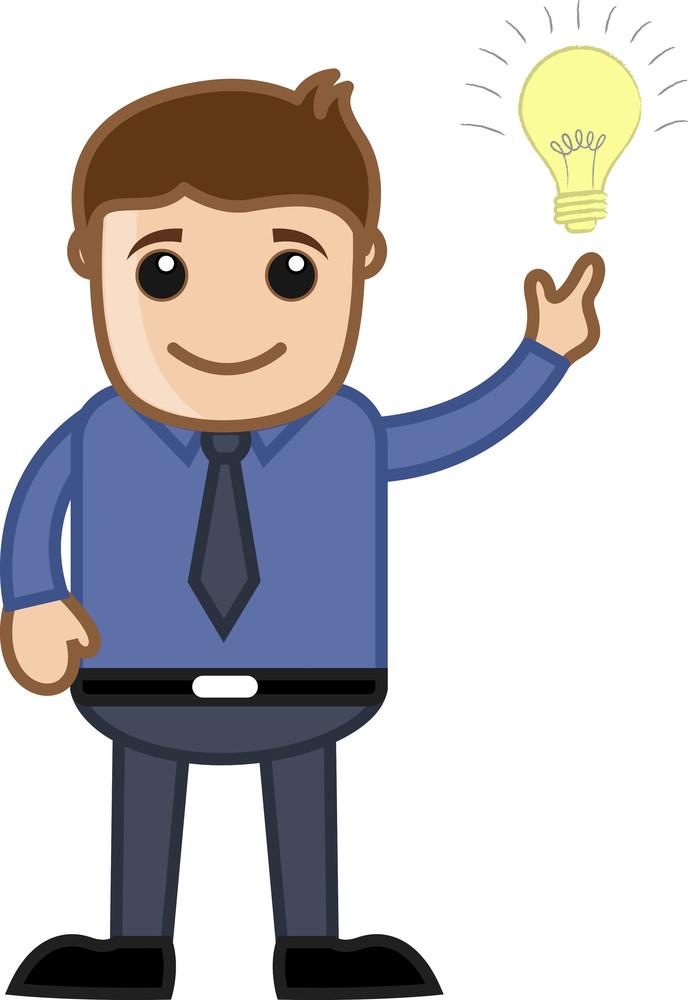Idea Bulb With Man - Cartoon Office Vector Illustration