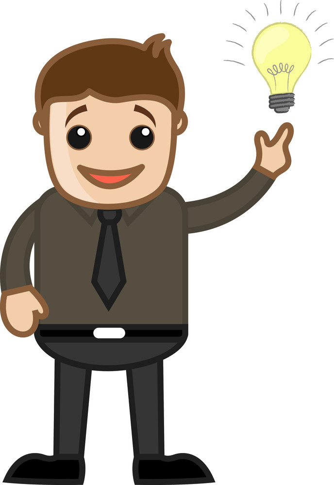 Idea Came In Mind - Business Cartoon Character Vector