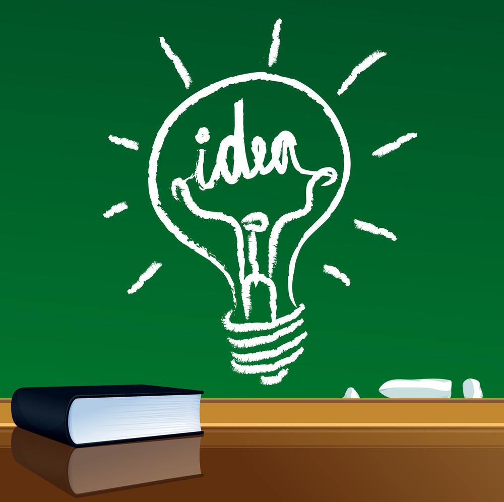 Idea Light Bulb On Blackboard. Vector