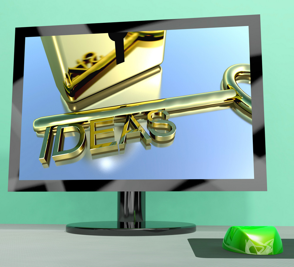 Ideas Key On Computer Screen Showing Creativity