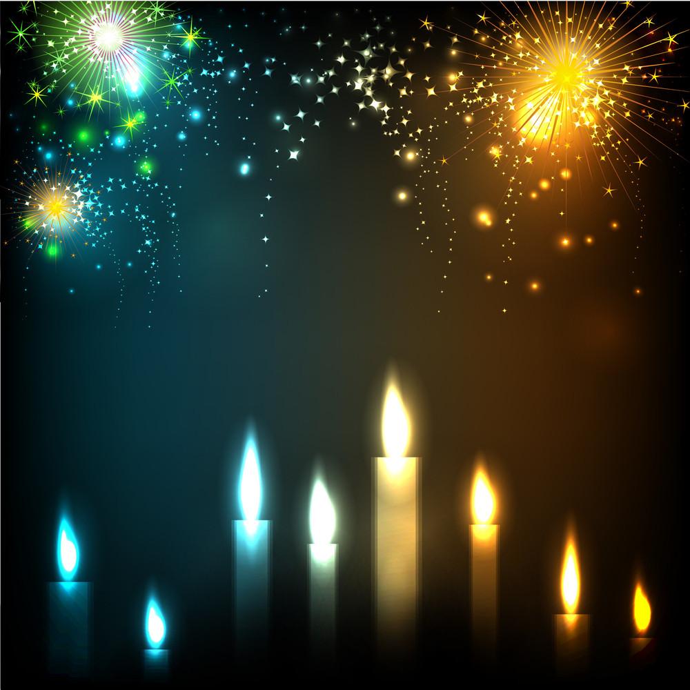 Illuminating Candles Theme For Diwali Or Deepawali Festival.