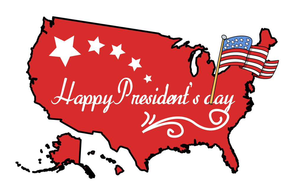 American Map Vector.Illustrated American Map With Happy Presidents Day Flag Vector