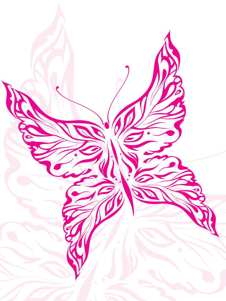 Illustration  Beautiful Pink Butterfly Tattoo
