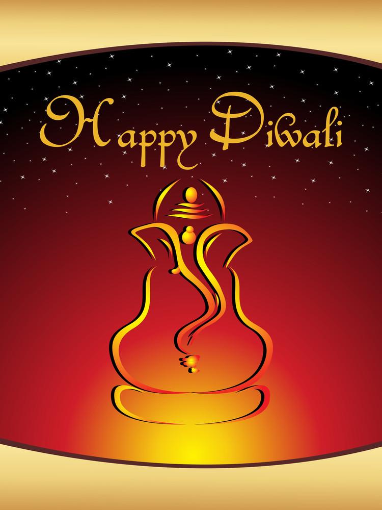 Illustration Gretting Card For Diwali