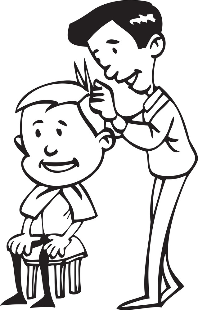 Illustration Of A Barber Cutting Hair.