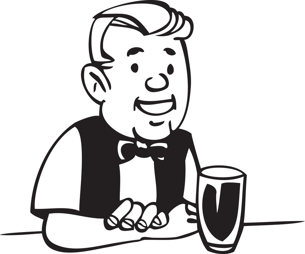 Illustration Of A Bartender With Glass.
