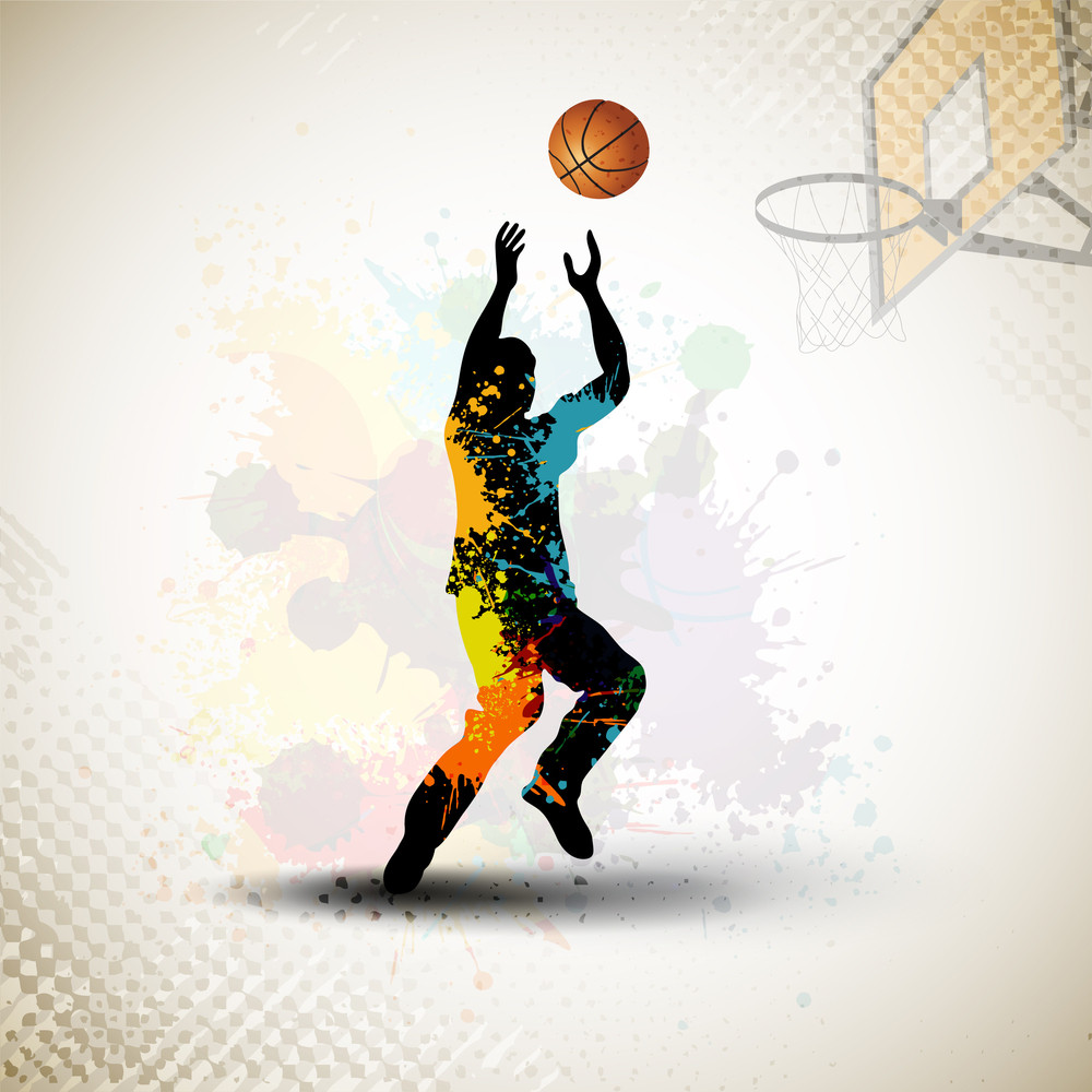 Illustration Of A Basketball Player Practicing With Ball At Court On Colorful Shiny Abstract Grungy Background. Eps 10