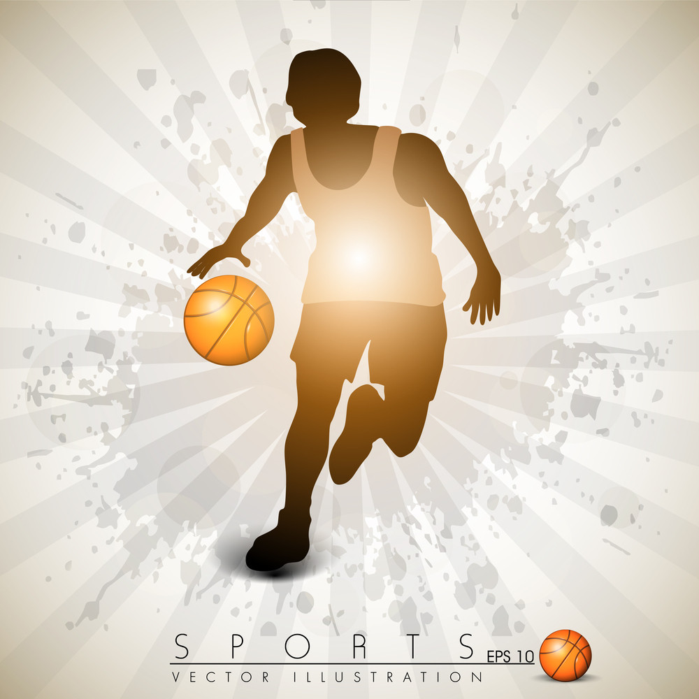 Illustration Of A Basketball Player Practicing With Ball At Court On Colorful Shiny Abstract Grungy Background.