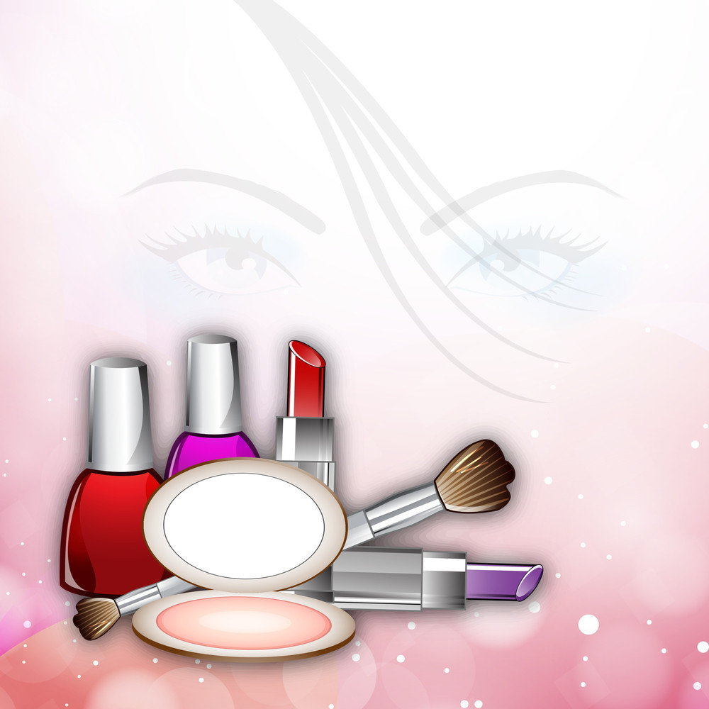 Illustration Of A Beautiful Girl Face With Cosmetics