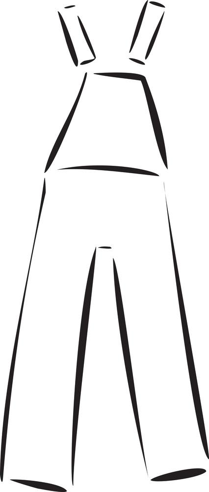 Illustration Of A Bib Jeans.