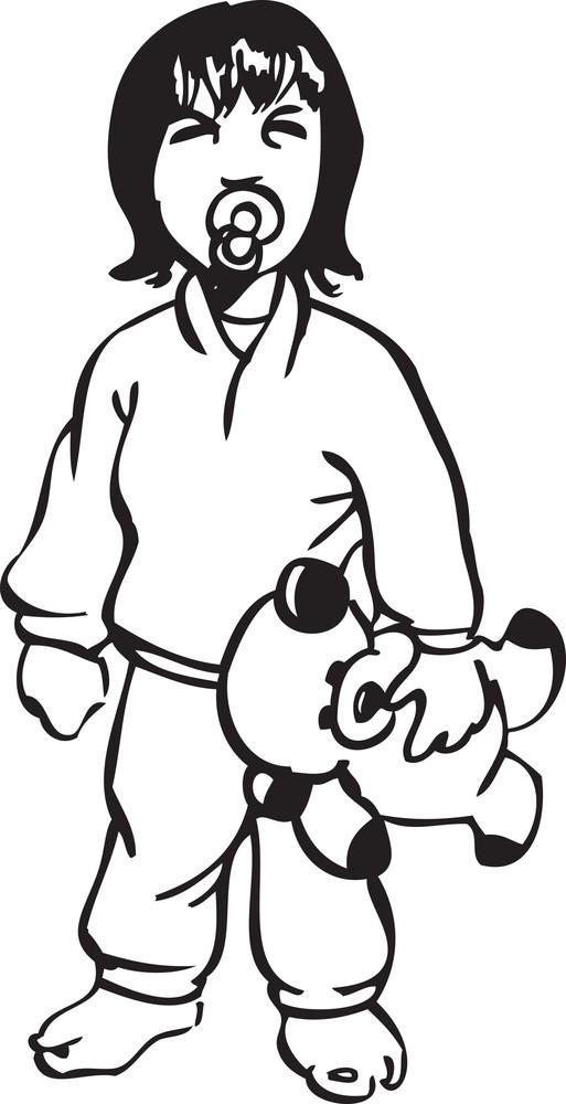 Illustration Of A Boy Holding A Teddy Bear.