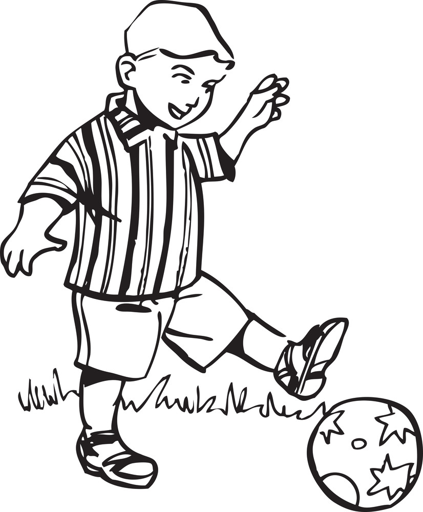 Illustration Of A Boy Playng With Ball.