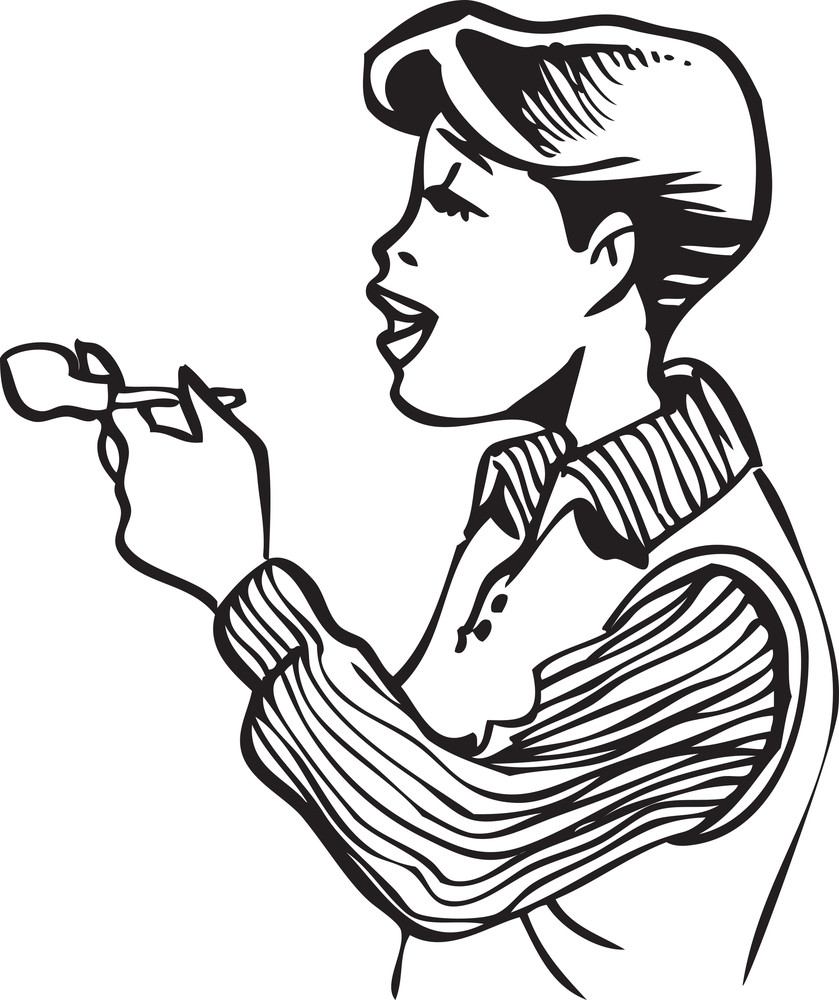 Illustration Of A Boy With A Tobacco Pipe.