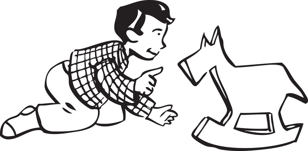 Illustration Of A Boy With Horse Toy.