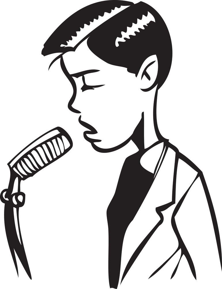 Illustration Of A Boy With Microphone.