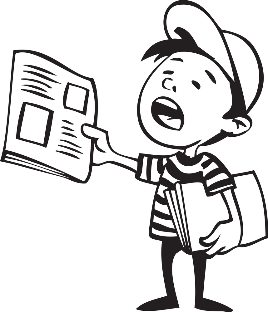 illustration of a boy with newspaper. royalty-free stock image