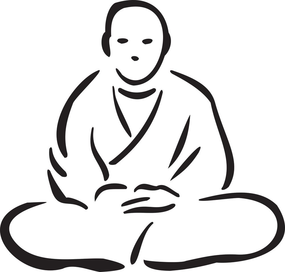 Illustration Of A Buddhist Monk.