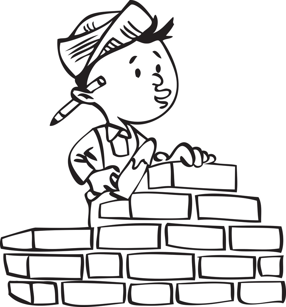 Illustration Of A Builder Building A Brick Wall.