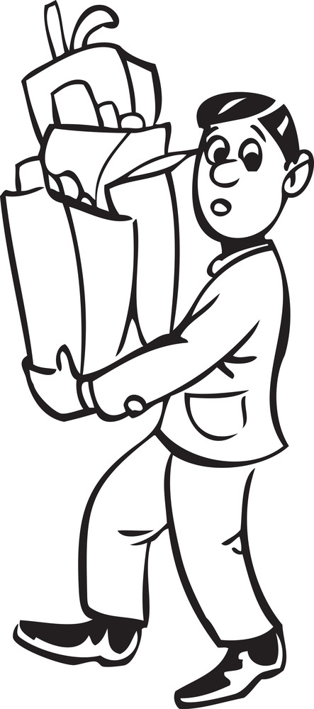 Illustration Of A Carrying Veg Shopping Bags.
