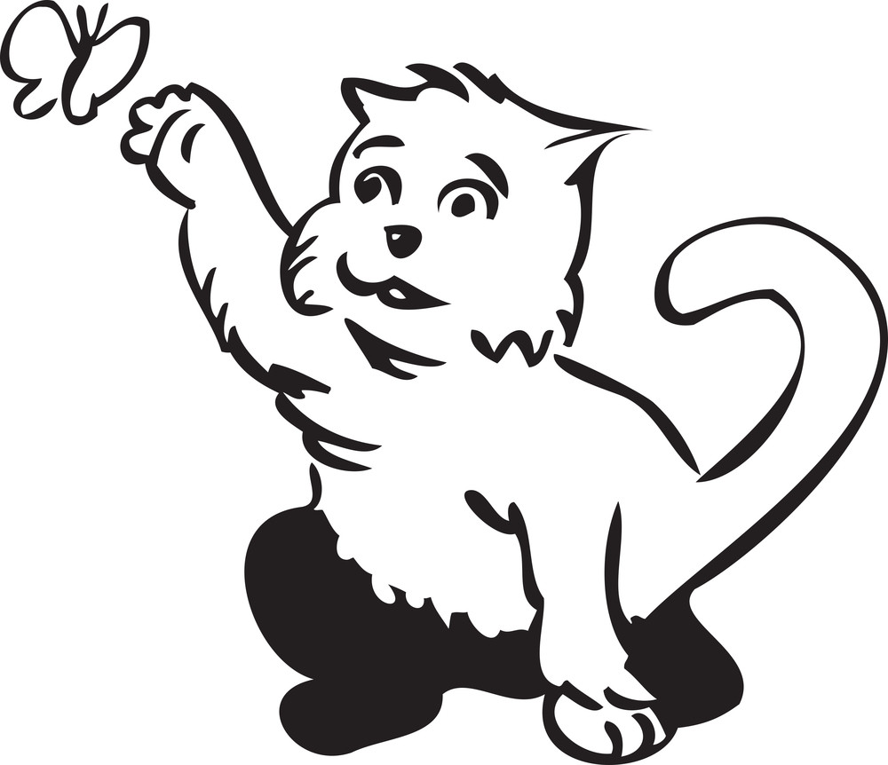 Illustration Of A Cat With Butterfly.