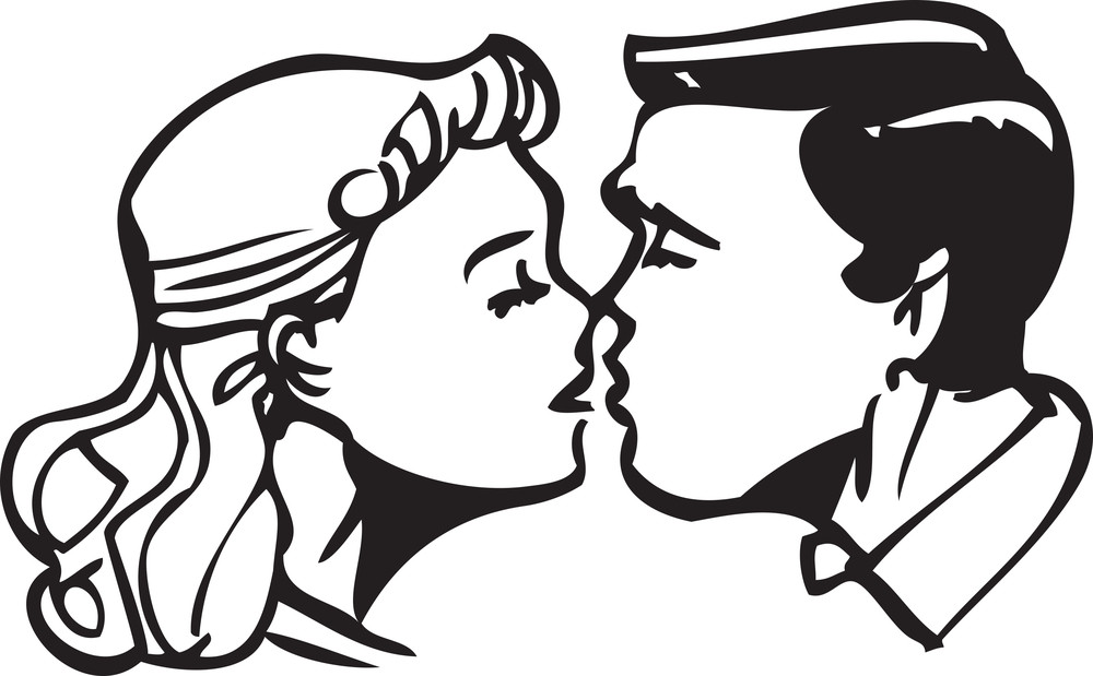 Illustration Of A Couple Kissing To Each Other.