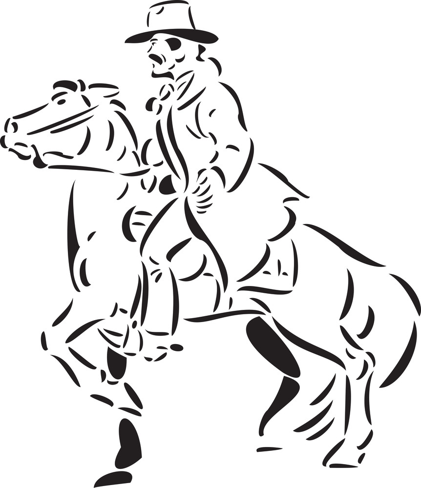 Illustration Of A Cowboy Riding Horse.