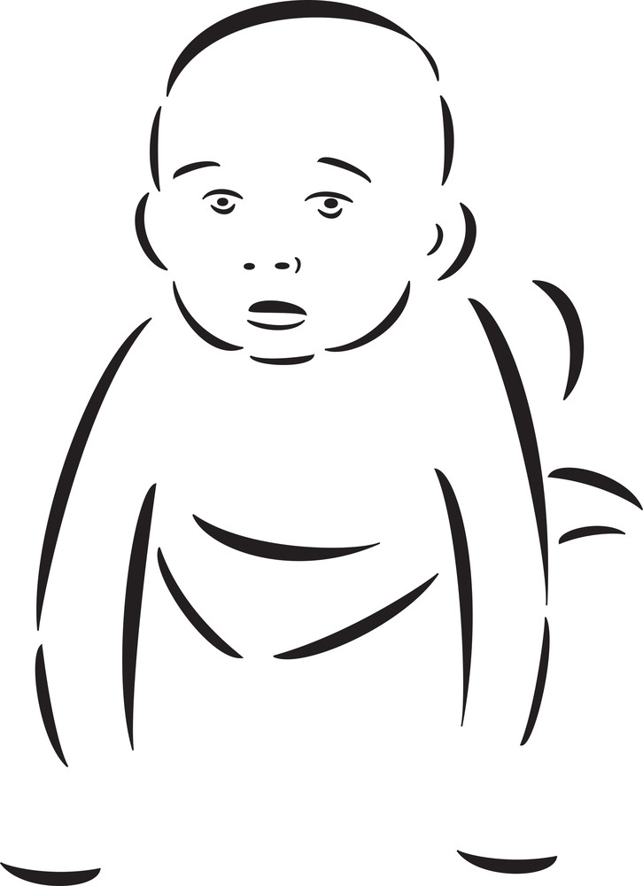 Illustration Of A Crawling Baby.