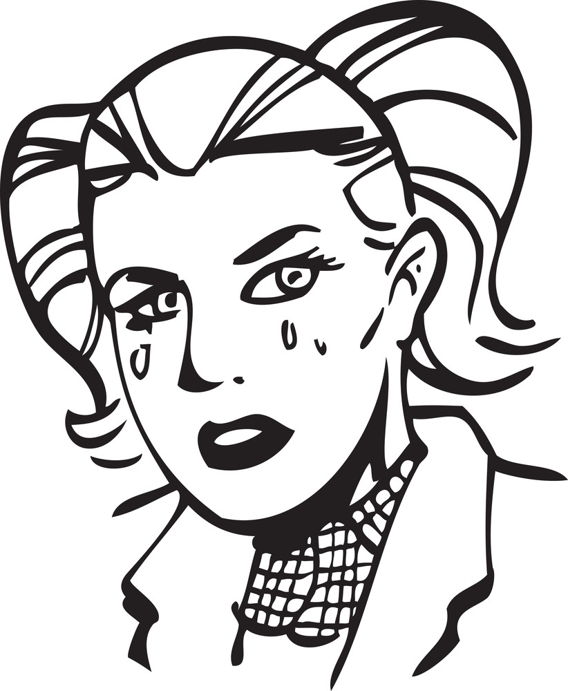 Illustration Of A Crying Girl.