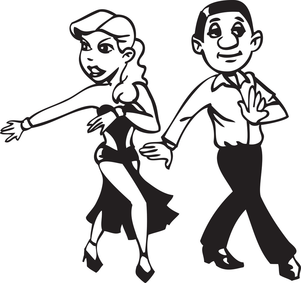 Illustration Of A Dancing Man And Woman.