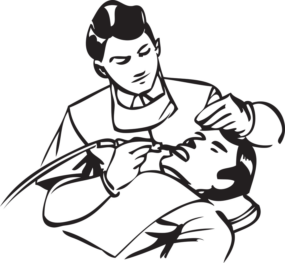 Illustration Of A Dental Doctor Treatment To Patient.