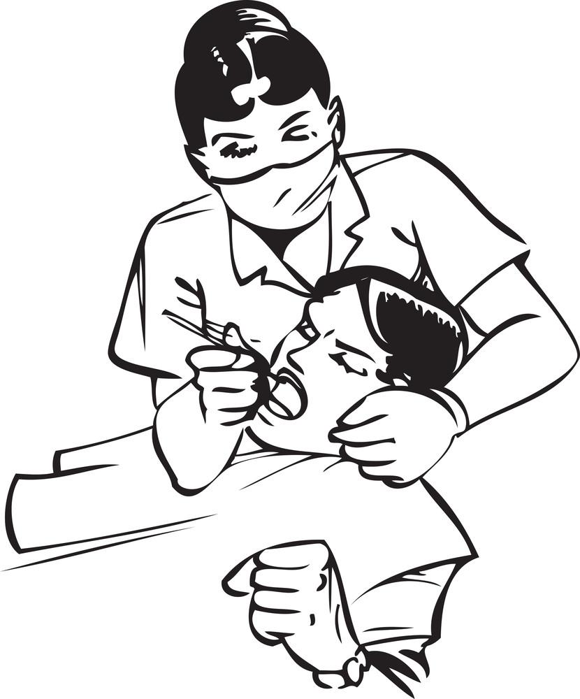 Illustration Of A Dental Nurse Treatment To Patient.