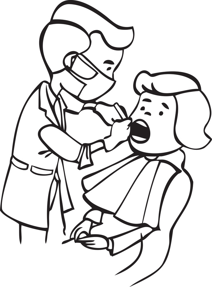 Illustration Of A Dentist Checking His Patient.