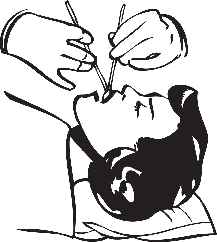 Illustration Of A Dentist Treatment To A Patien.