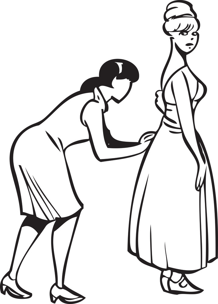 Illustration Of A Designer Preparing A Girl.