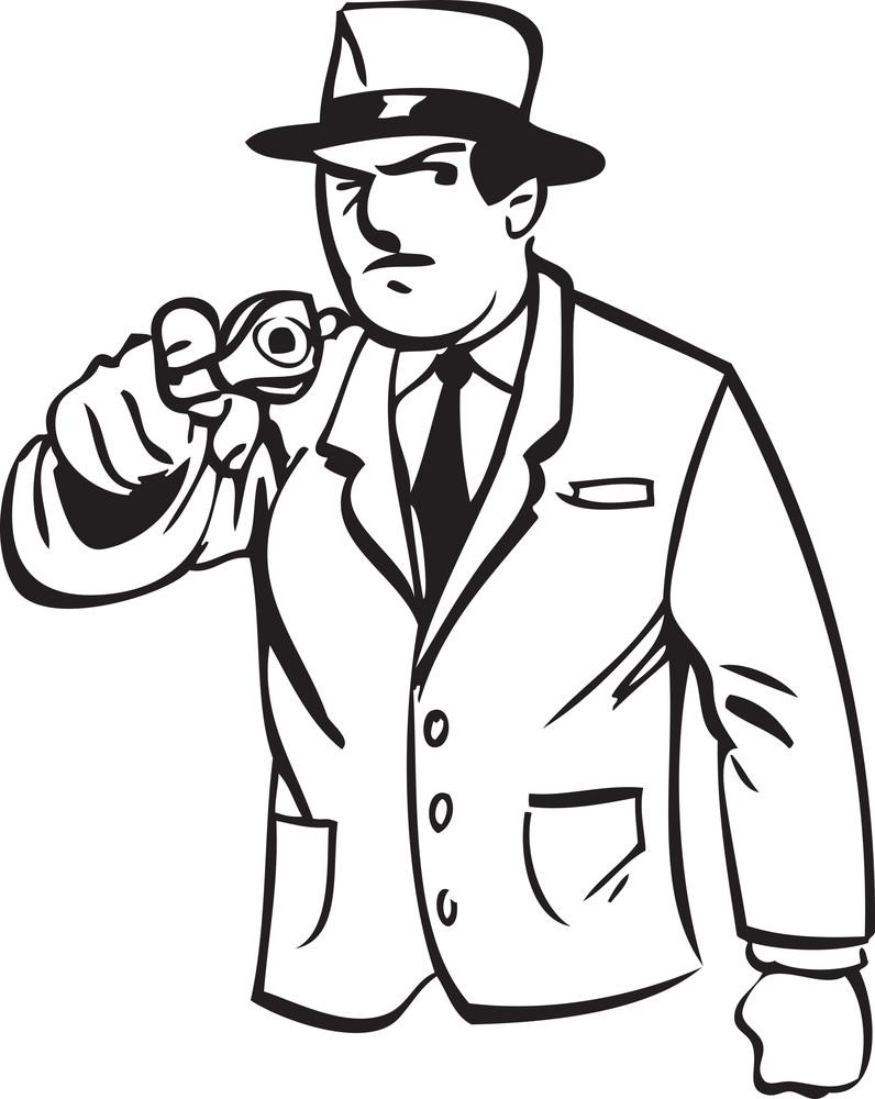 Illustration Of A Detective Man.