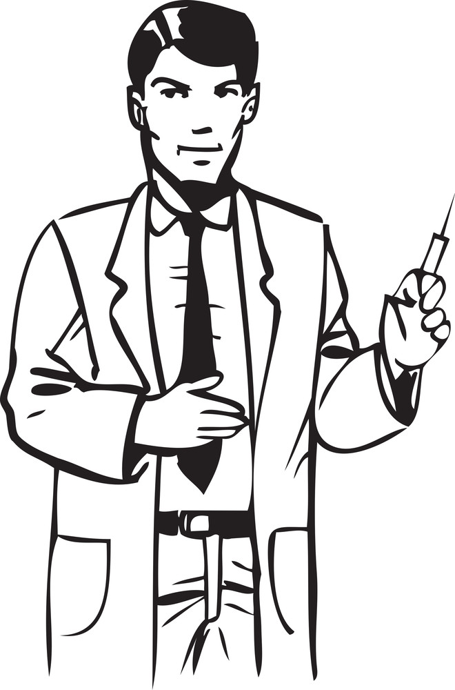 Illustration Of A Docto With A Syringe.
