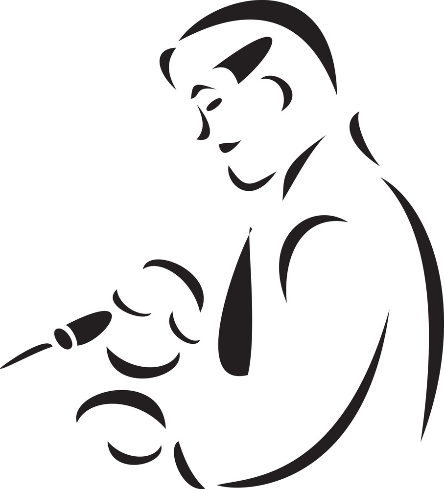 Illustration Of A Doctor With Injection.