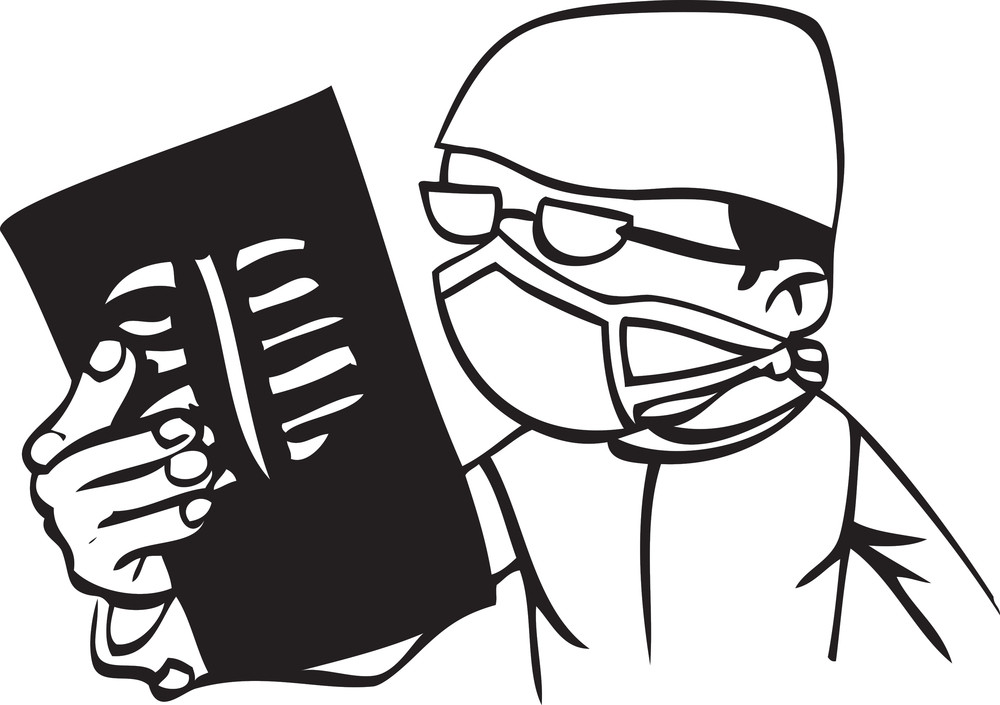 Illustration Of A Doctor With Mask And X-ray.