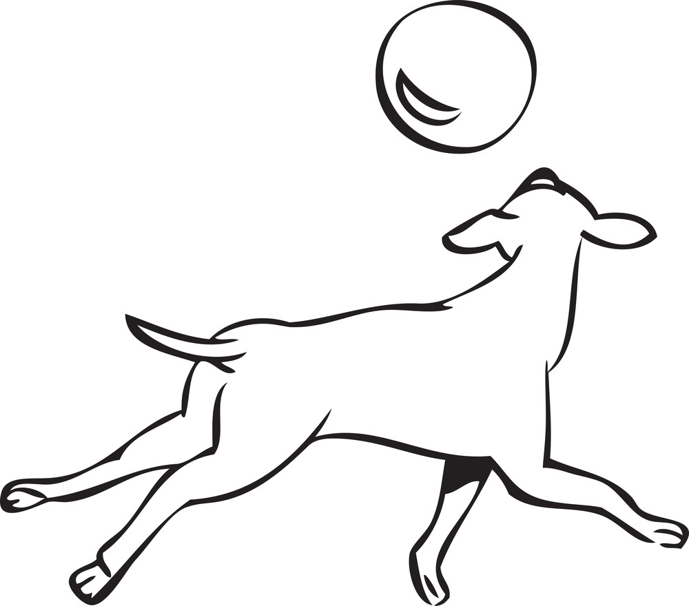 Illustration Of A Dog With Ball.