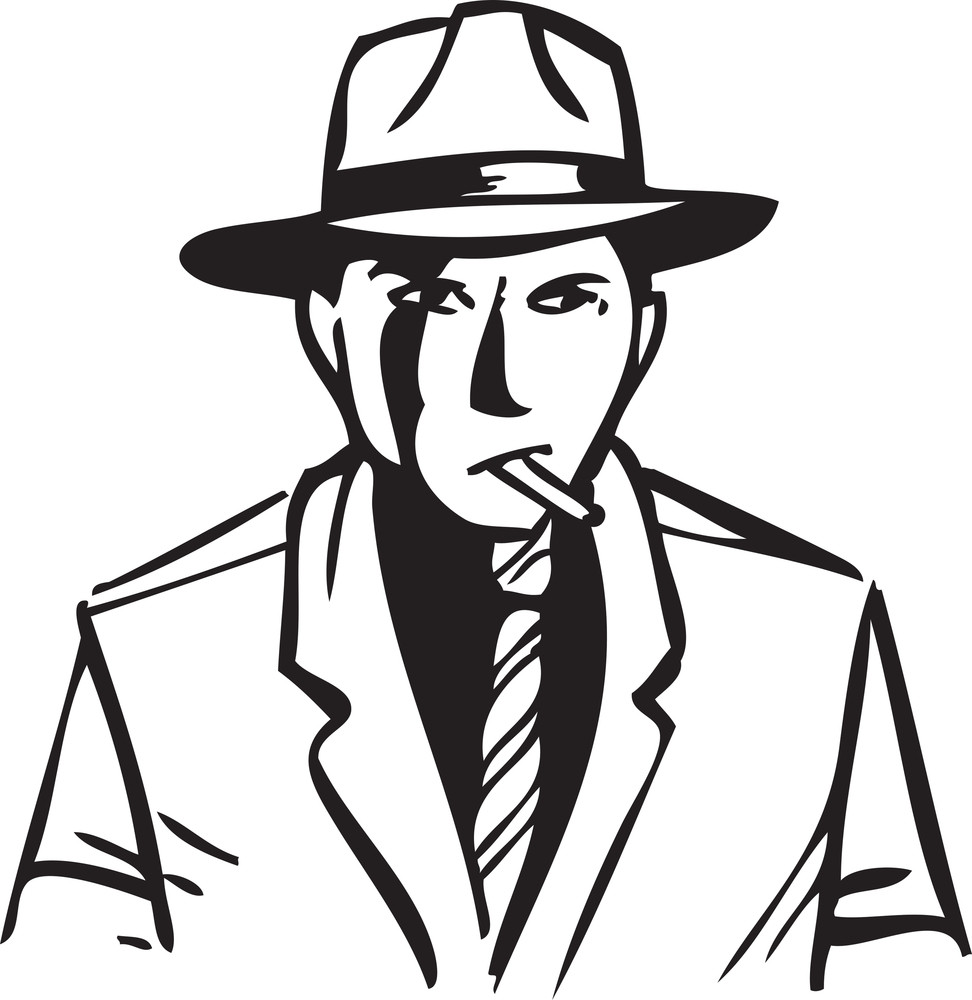 Illustration Of A Don Holding Cigarette In Mouth.