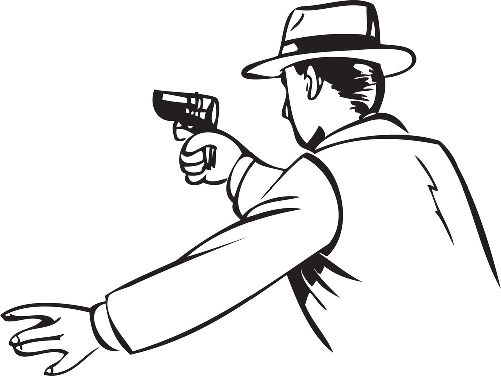 Illustration Of A Don Man With Gun.