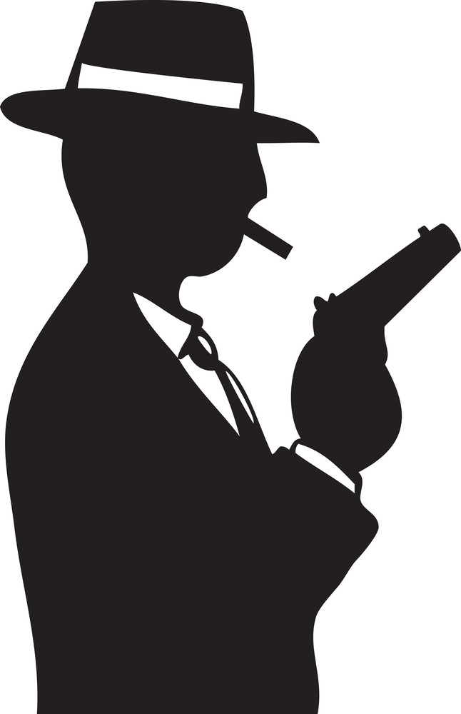 Illustration Of A Don With Cigarette And Gun.