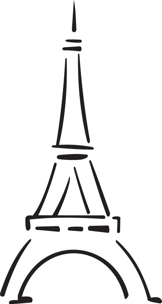 Illustration Of A Eiffel Tower In France.