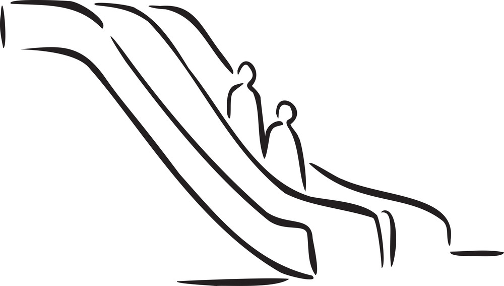 Illustration Of A Escalator.
